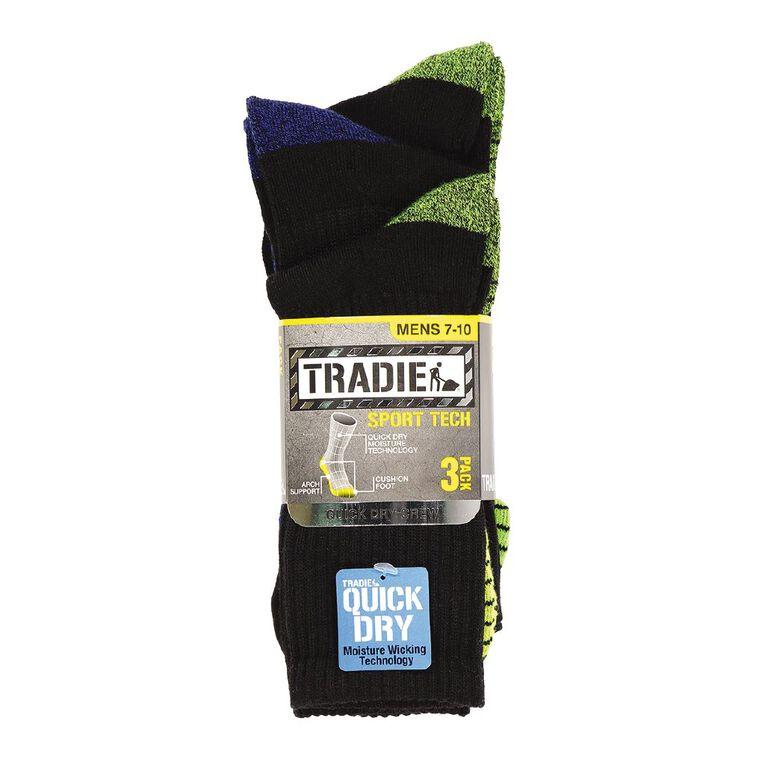 Tradie Men's Sport Tech Socks 3 Pack, Black/Yellow, hi-res image number null