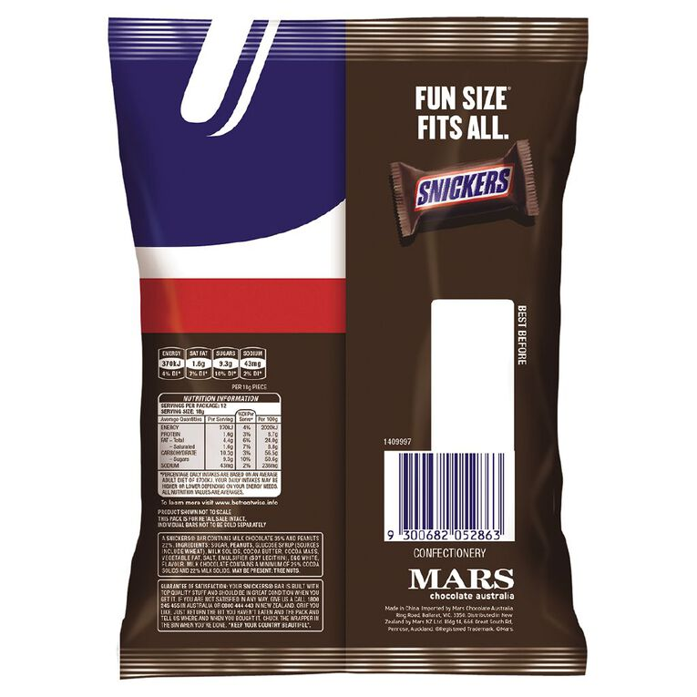 Snickers Chocolate Party Share Bag 12 piece 216g 12 Pack, , hi-res