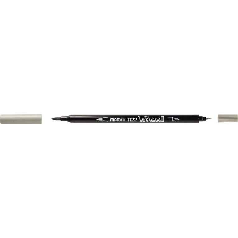 MARVY Le Plume II Dual Tip Marker Ash Grey, , hi-res