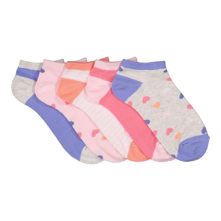 H&H Girls' Liner Socks 5 Pack, Purple Mid, hi-res image number null