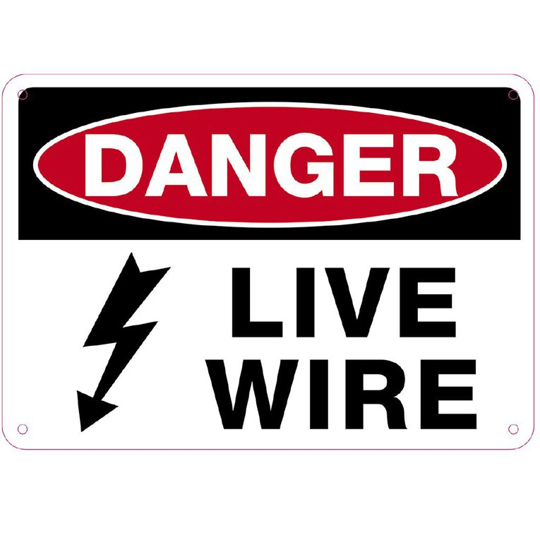 WS Danger Live Wire Sign Small 240mm x 340mm, , hi-res