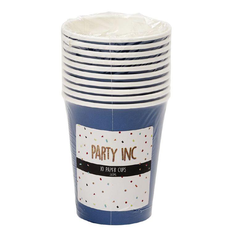 Party Inc Paper Cups 260ml Royal Blue 10 Pack, , hi-res