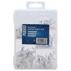 Mako Square Cable Clip Set 100 Pack