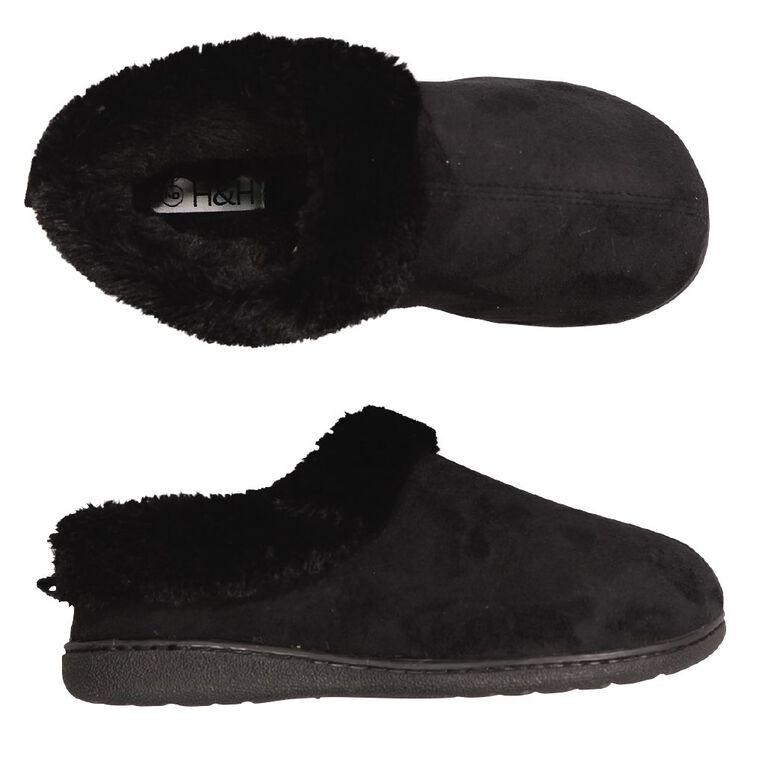 H&H Memory Scuff Slippers, Black, hi-res