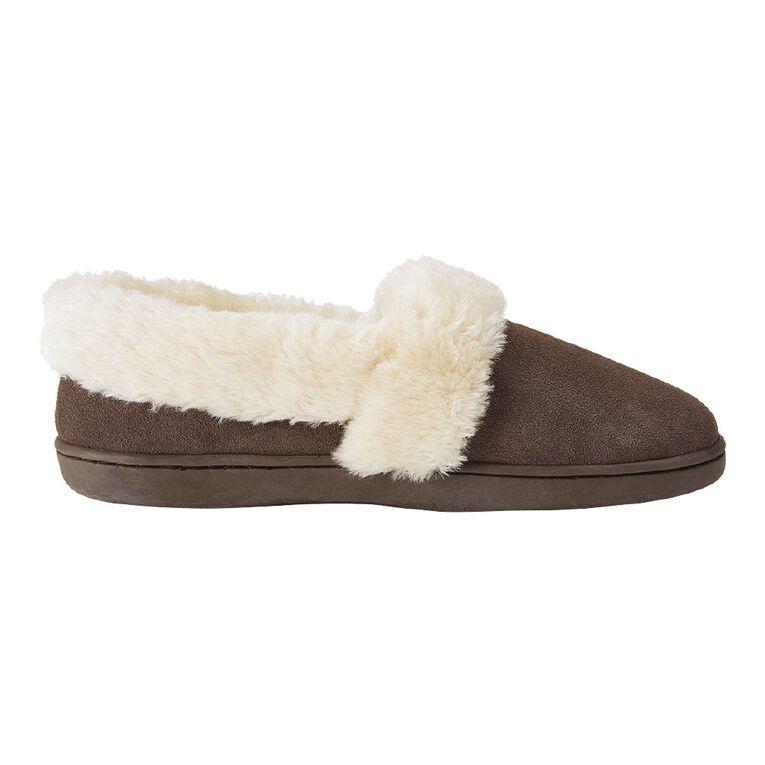 H&H Suede Fur Trim Slippers, Natural, hi-res