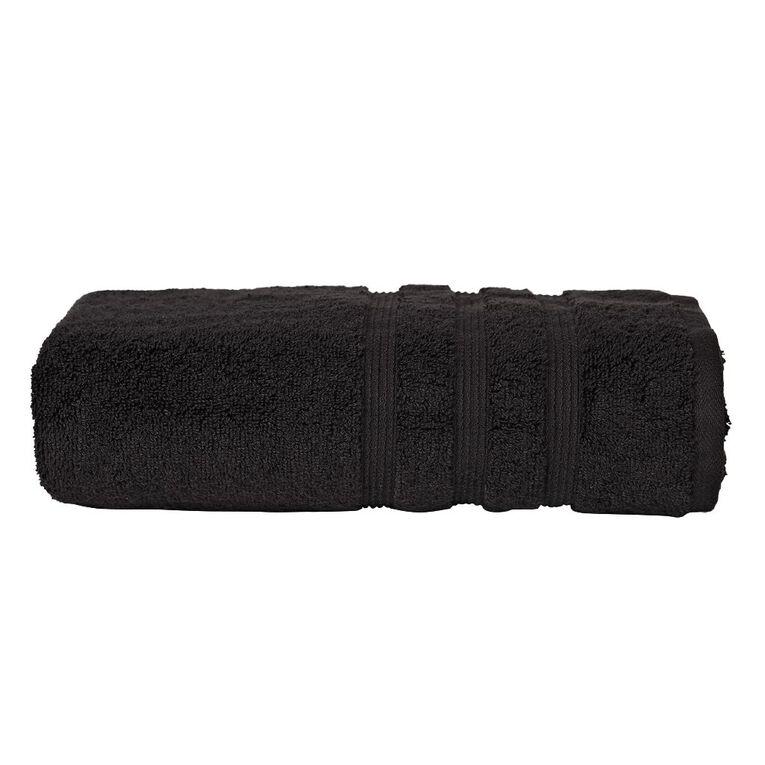 Living & Co Montreal Bath Towel Black 68cm x 137cm, Black, hi-res