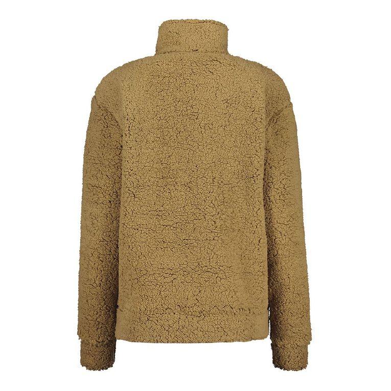 H&H Women's Zip Collar Sherpa Sweatshirt, Brown Light, hi-res