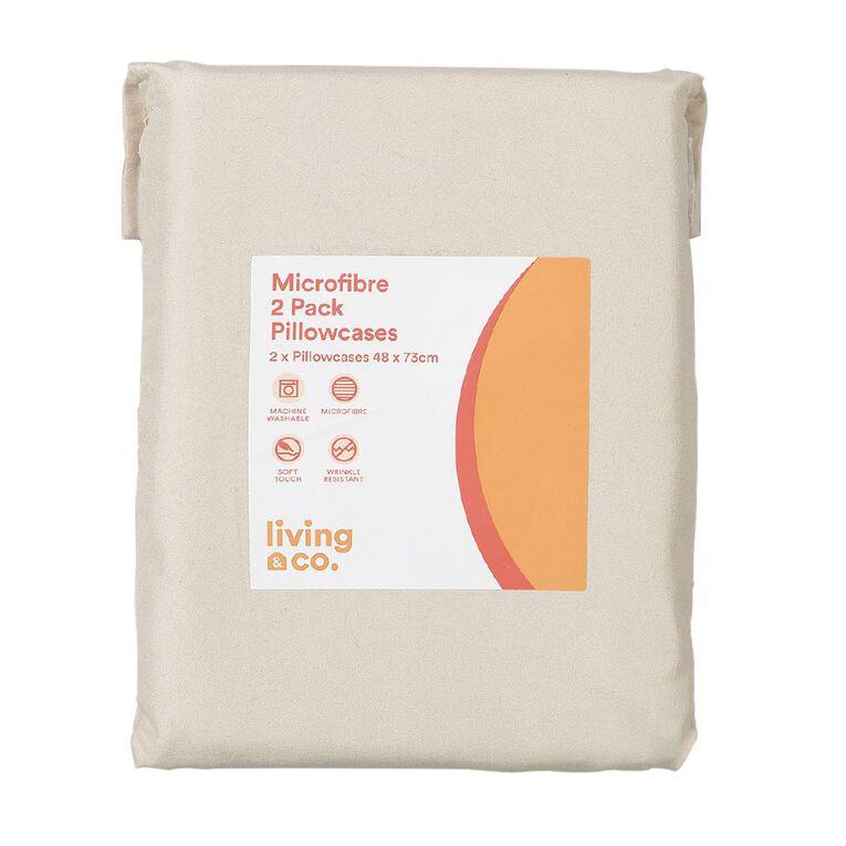 Living & Co Pillowcase Standard Microfibre 2 Piece Taupe 48cm x 73cm, Taupe, hi-res