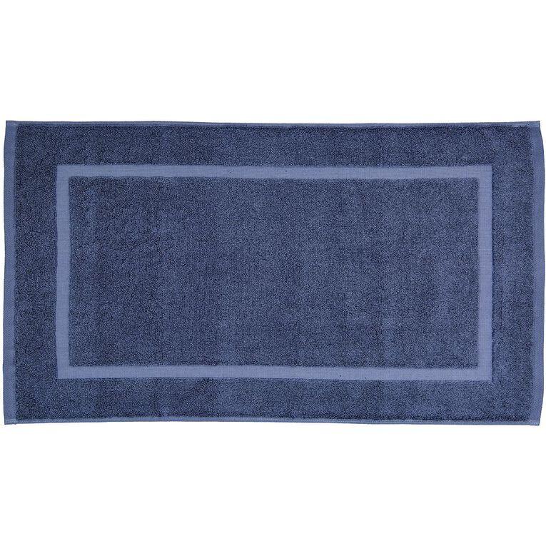 Living & Co Montreal Bath Mat Blue 45cm x 75cm, Blue, hi-res