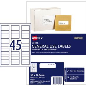 Avery General Use Labels White 4500 Labels