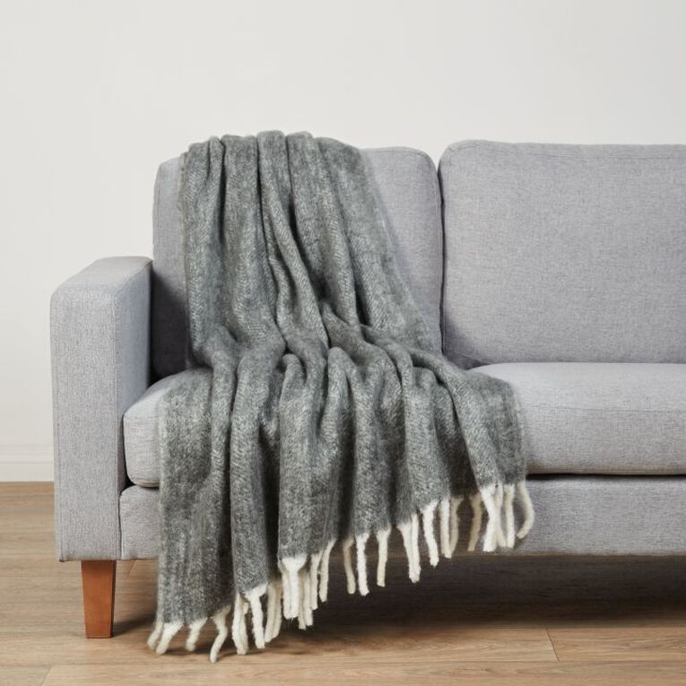 Living & Co Raised Wool Mix Throw Charcoal 127cm x 152cm, Charcoal, hi-res