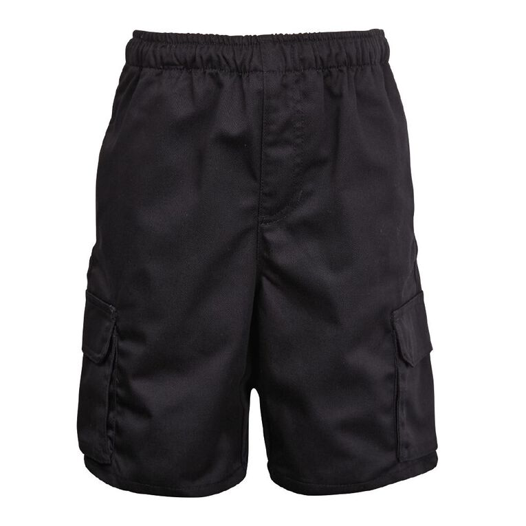 Schooltex Drill Cargo Pocket Shorts, Black, hi-res