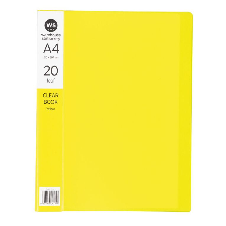 WS Clear Book 20 Leaf Yellow A4, , hi-res image number null