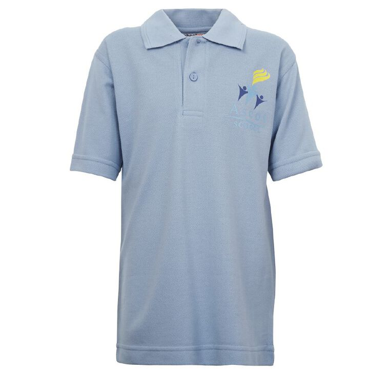 Schooltex Ascot Primary Short Sleeve Polo with Screenprint, Sky Blue, hi-res