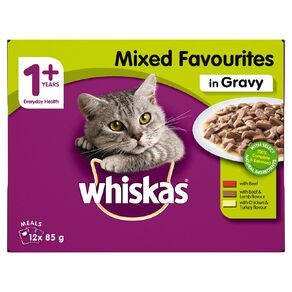 Whiskas Adult Wet Cat Food Mixed Favourites in Gravy 12 X 85g Pouches