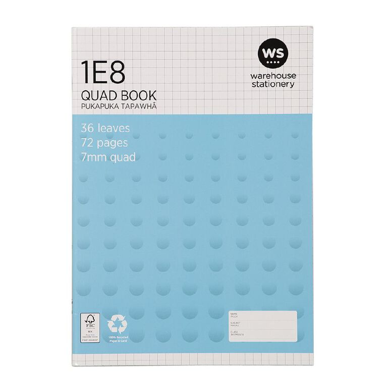 WS Exercise Book 1E8 7mm Quad 36 Leaf Blue, , hi-res