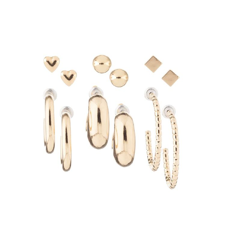 Heart Cube Chunky Hoop Gold Earring 6 Pairs, , hi-res