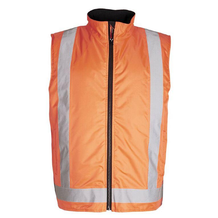 Rivet Fleece Lined Day and Night Compliant Work Vest, Orange, hi-res