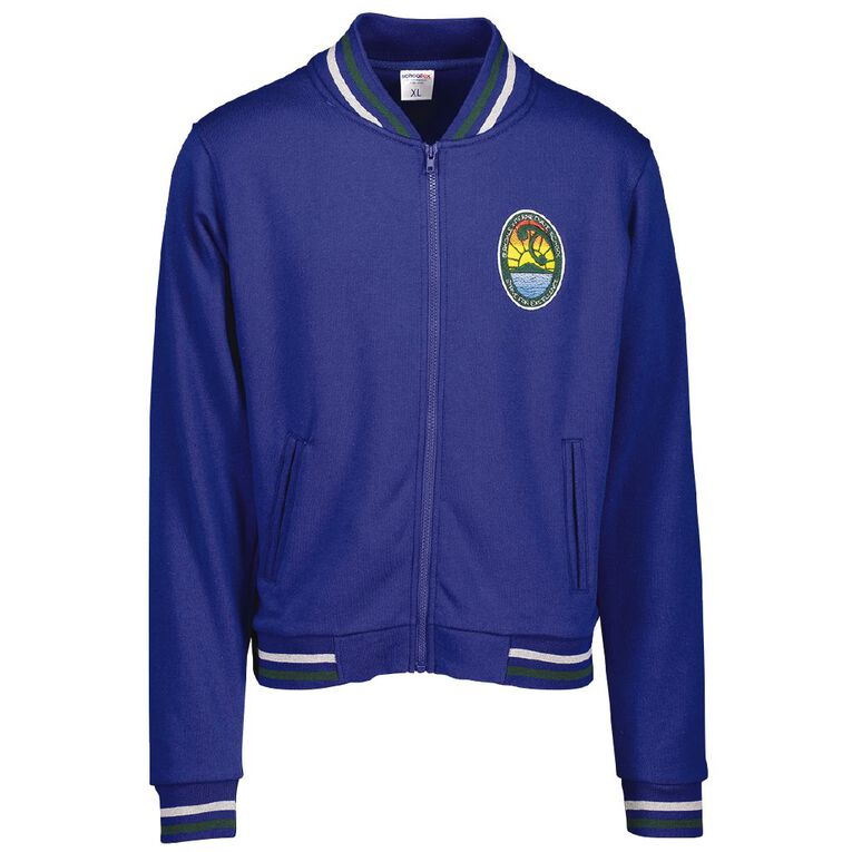 Schooltex Birkdale Intermediate Zip 2 Stripes Jacket with Embroidery, Royal, hi-res