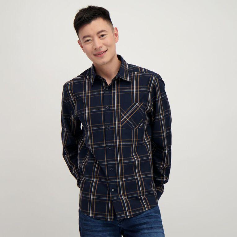 H&H Men's Long Sleeve Classic Check Shirt, Navy/Tan, hi-res