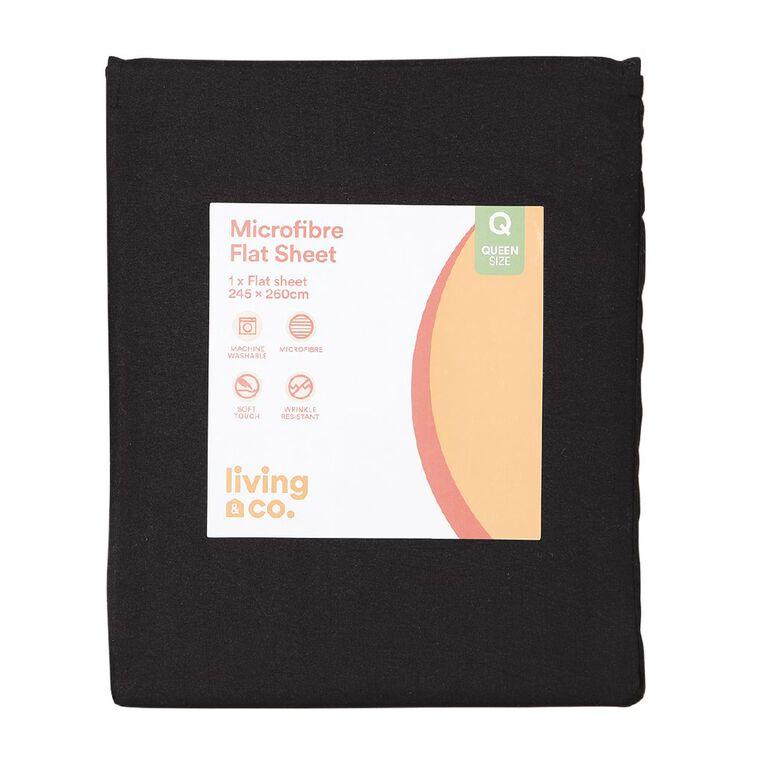 Living & Co Sheet Flat Microfibre Black King, Black, hi-res
