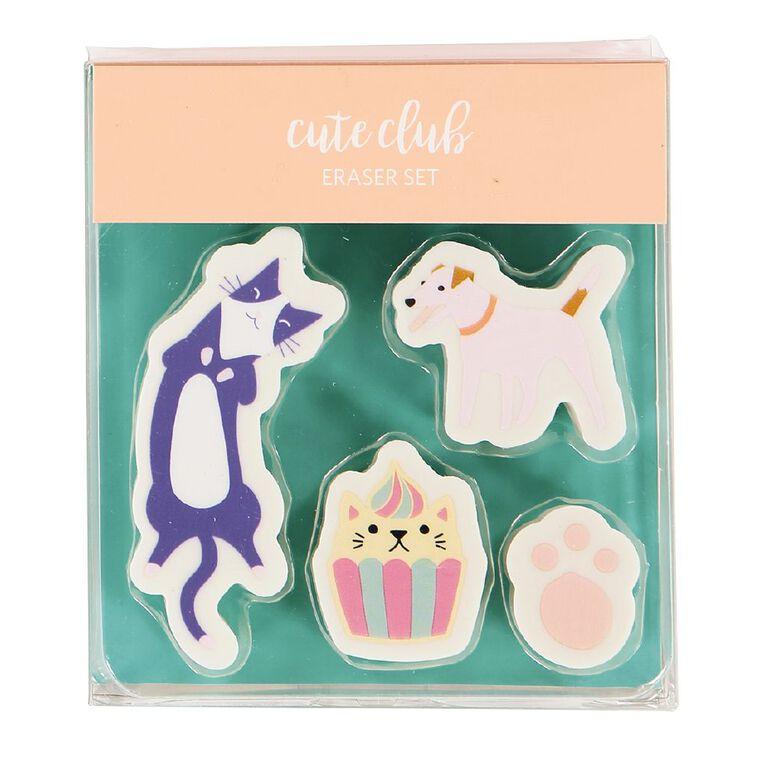 Kookie Novelty Eraser Set Cat & Dog 4 Pieces, , hi-res