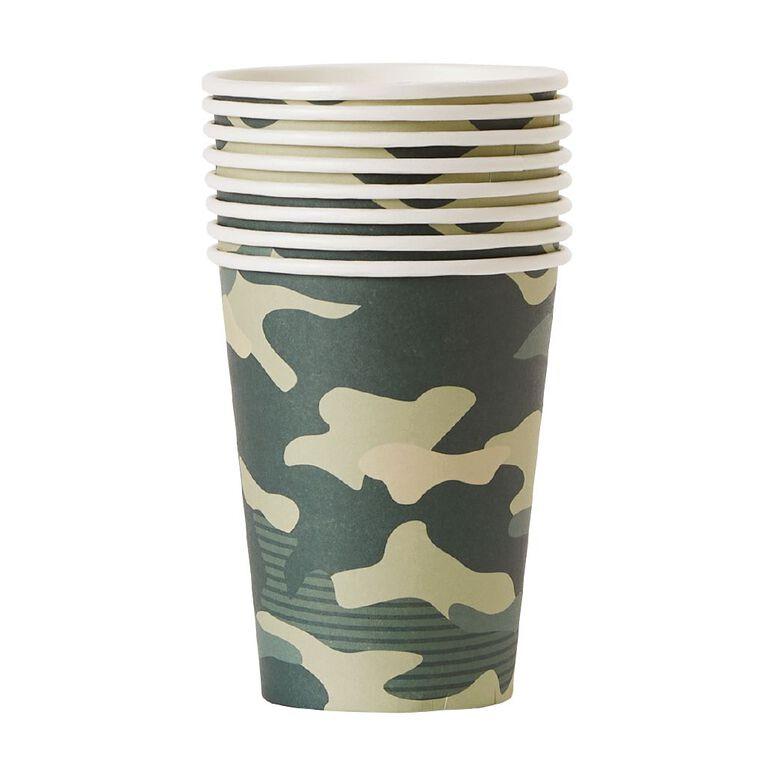 Party Inc Camo Paper Cups 250ml 8 Pack, , hi-res