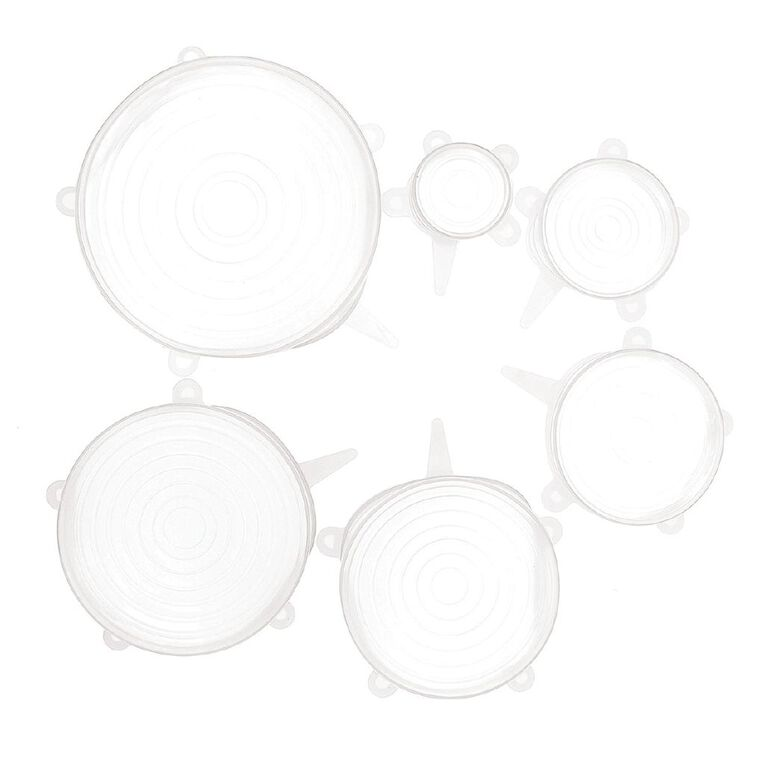 Living & Co Silicone Reusable Bowl Covers Clear 6 Pack, , hi-res