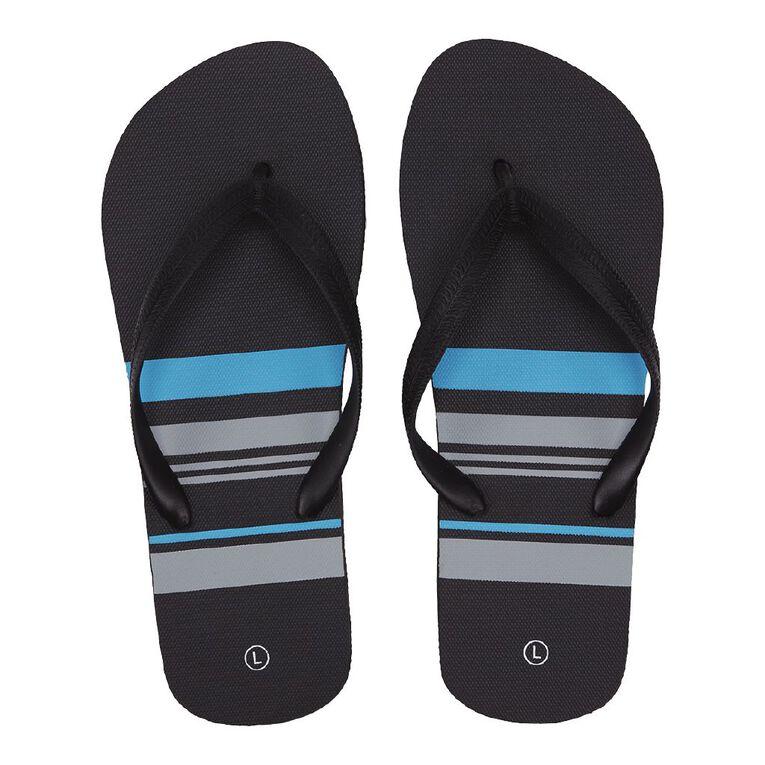 H&H Lines Jandals, Black/Blue, hi-res