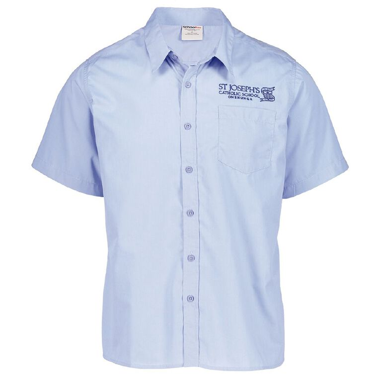 Schooltex St Joseph's Onehunga Short Sleeve Shirt with Embroidery, Blue, hi-res
