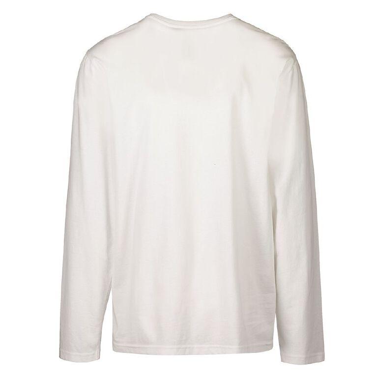 H&H Men's Crew Neck Long Sleeve Plain Tee, White, hi-res