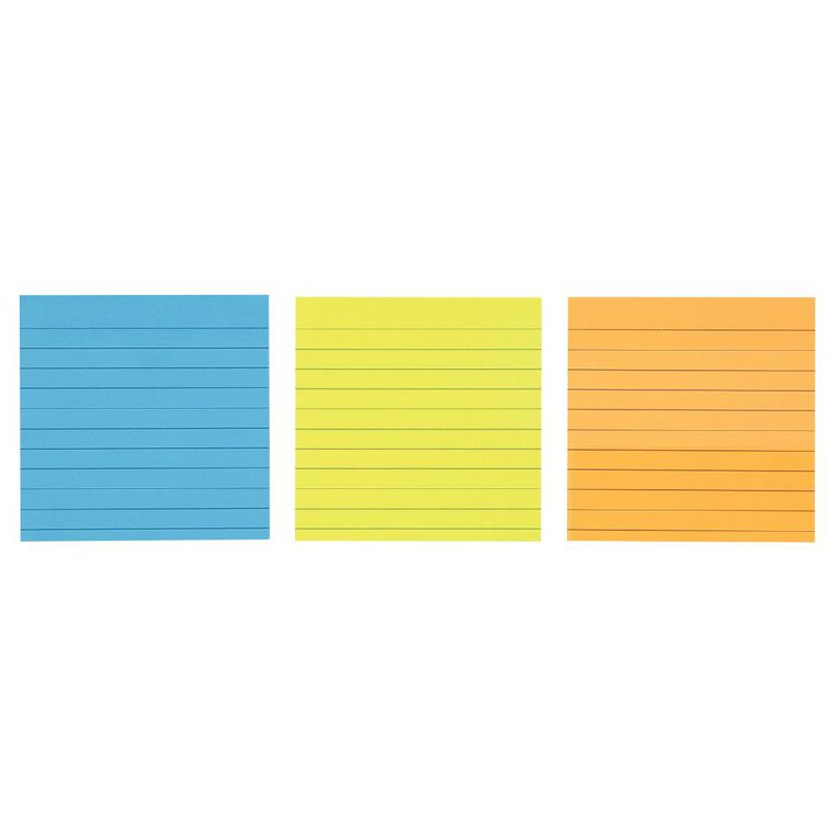 WS Sticky Notes Lined 101mm x 101mm 70 Sheets 3 Pack, , hi-res