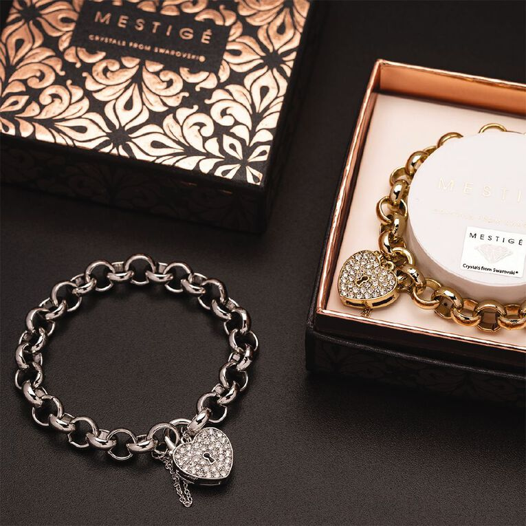 Mestige Swarovski Crystal Silver Plated Heart Throb Bracelet, , hi-res