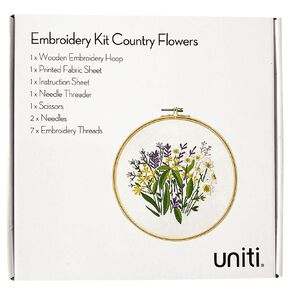 Uniti Embroidery Kit Country Flowers 14 Pieces