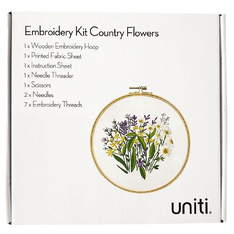 Uniti Embroidery Kit Country Flowers 14 Pieces, , hi-res