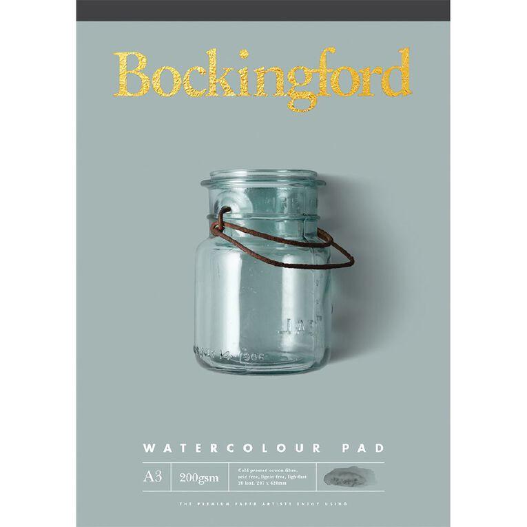 Bockingford Watercolour Pad 200gsm 20 Leaf A3, , hi-res