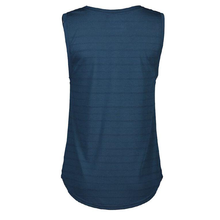 Active Intent Women's Placement Print Boyfriend Tank Singlet, Blue Dark, hi-res