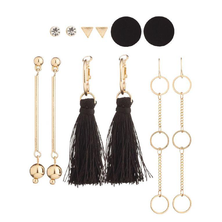 Basics Stud Disc Tassel Droplet Earring 6 Pairs, Black/Gold, hi-res