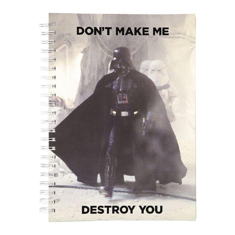 Star Wars Adult Notebook Don't Make Me Destroy You Black A4, , hi-res
