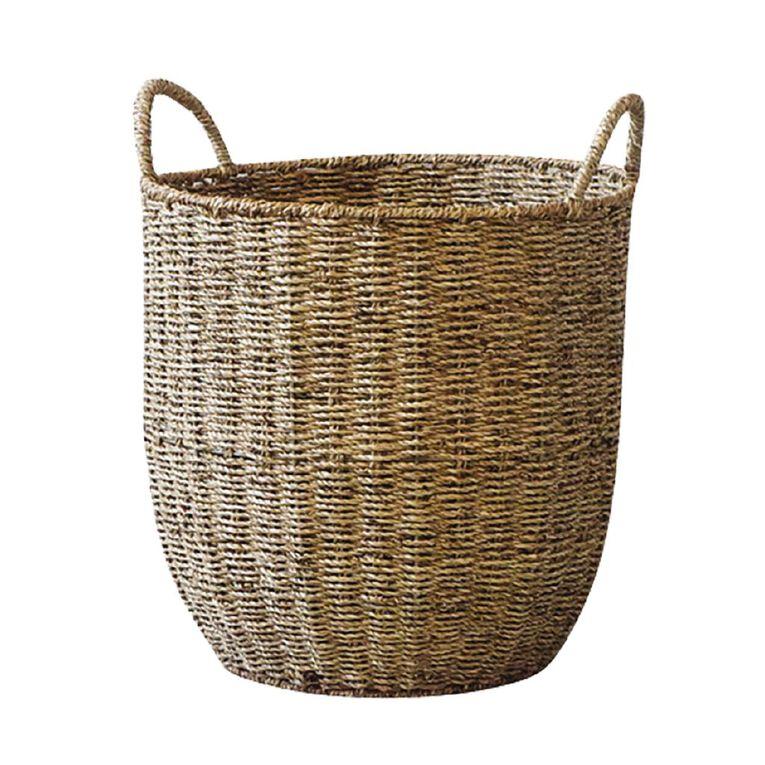 Living & Co Round Seagrass Basket Natural Large, , hi-res