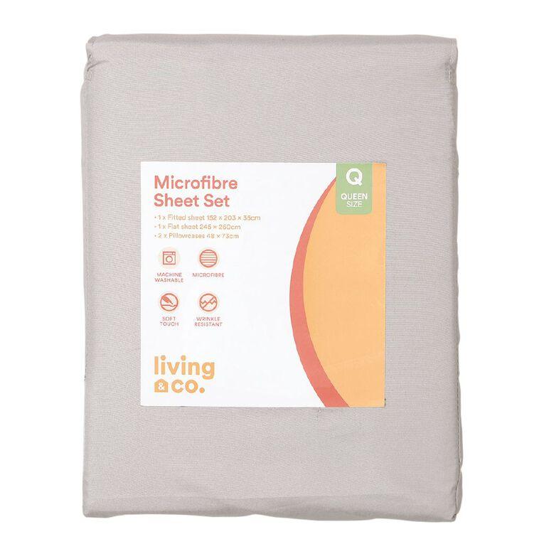Living & Co Sheet Set Microfibre Grey Light Double, Grey Light, hi-res