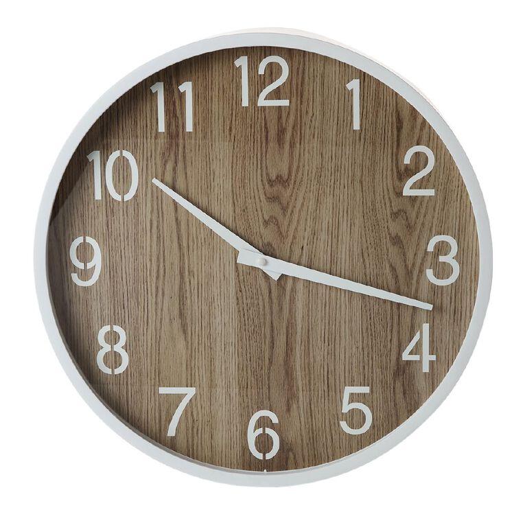 Living & Co Scandi Clock Natural 40cm, , hi-res