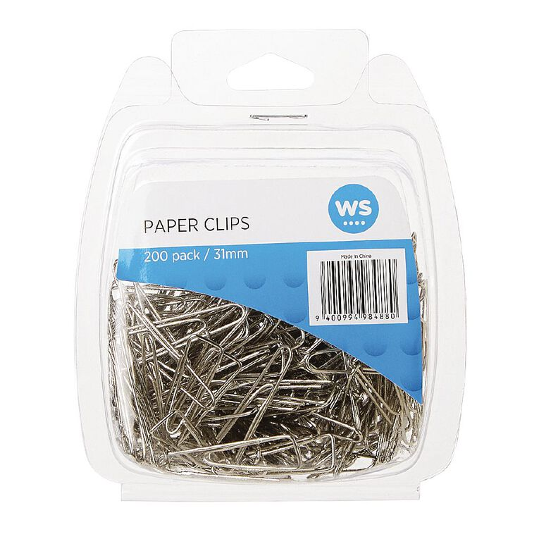 WS Paper Clips Triangular 31mm 200 Pack Silver, , hi-res