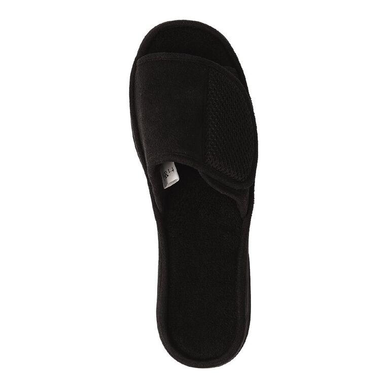 H&H Evan Adjustable Strap Slippers, Black, hi-res