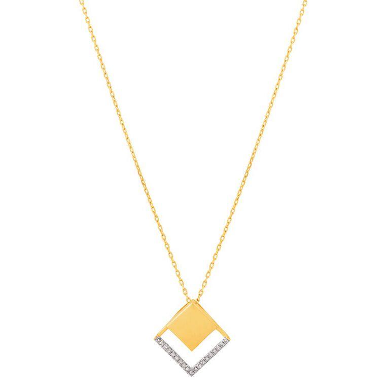 0.06 Carat Diamond 9ct Gold Diamond Shape Cut Out Necklace, , hi-res