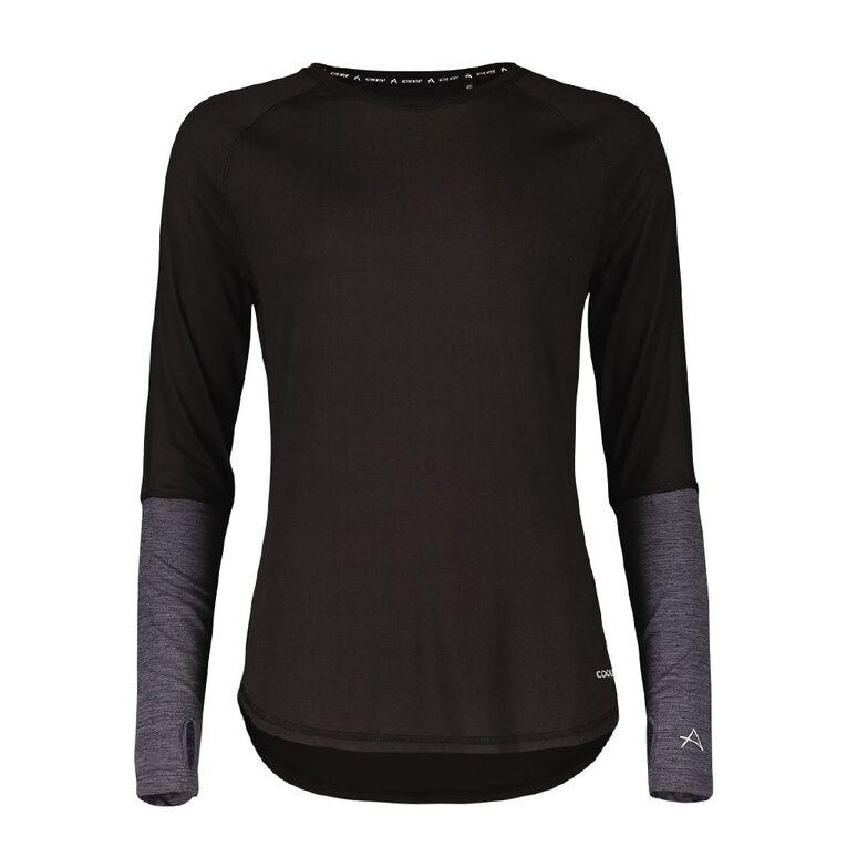 Active Intent Women's Long Sleeve Colour Block Tee, Black, hi-res