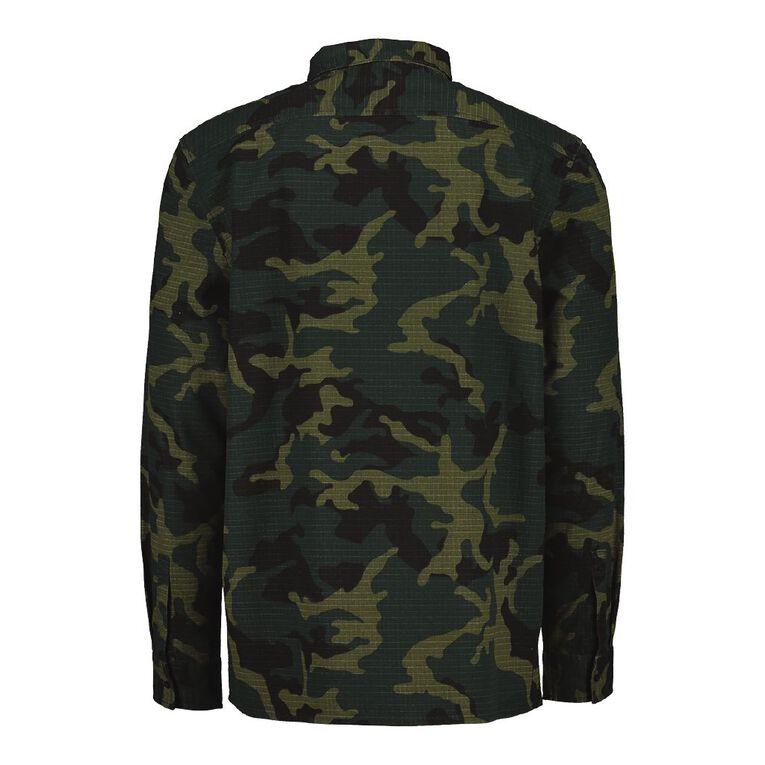 Garage Men's Long Sleeve Camo Ripstop Shirt, Khaki, hi-res