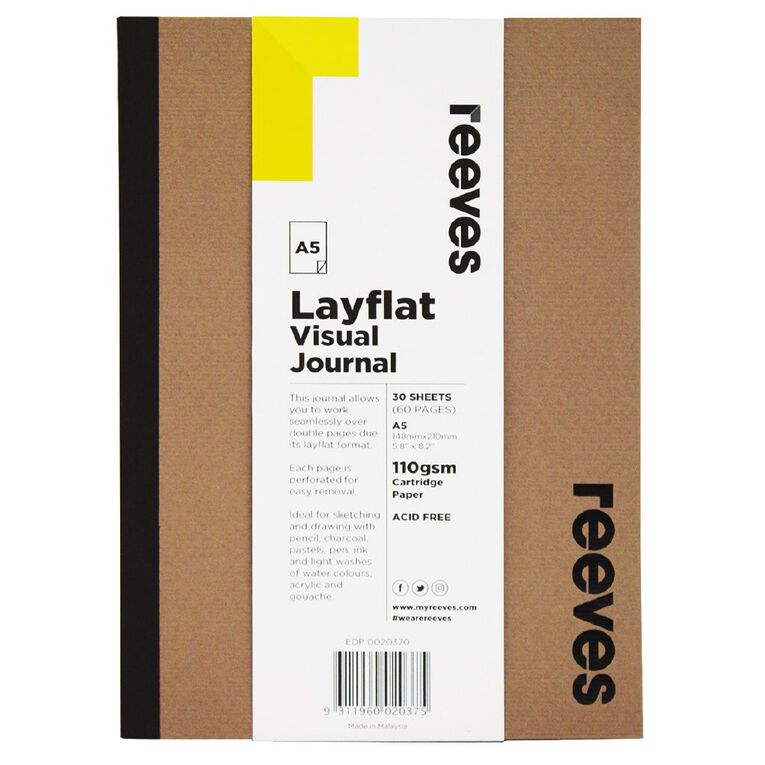Reeves Visual Journal Layflat Kraft A5 30 Sheets, , hi-res