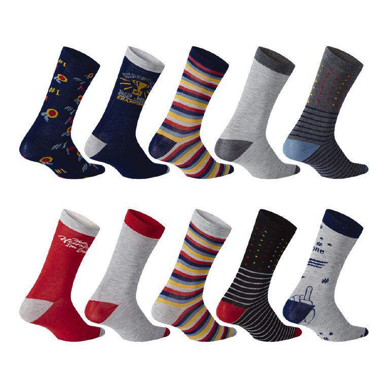 H&H Men's Crew Socks 10 Pack, Multi-Coloured, hi-res