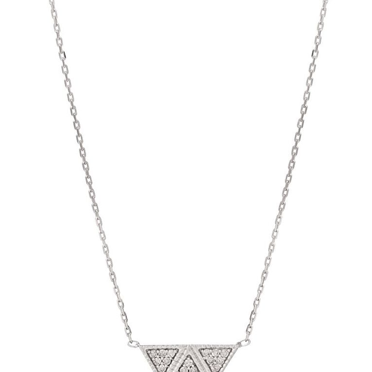 0.1 Carat Diamond Sterling Silver Triangle Necklet, , hi-res